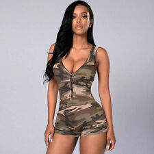Hot Women Sexy V Neck Camouflage Bodycon Short Rompers Night Clubwear Playsuits