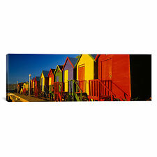 Panoramic Beach Huts in Cape Town, South Africa Photographic Print on Canvas