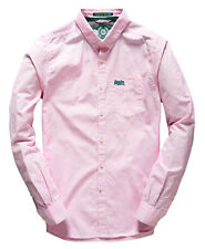 New Mens Superdry London Button Down Shirt Fine Stripe Pink