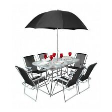 Garden Dining Set Patio Furniture Outdoor Table Chairs Parasol Metal Glass Deck