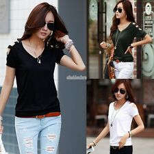 Women Short Sleeve V-neck Hollow Out T-shirt Cotton Basic Casual Slim Tops EFFU