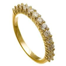 14K  Y GOLD VERMEIL13 STONE CUBIC ZIRCONIA ETERNITY  WEDDING BAND RING -925/SS