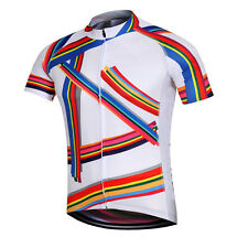Novelty Rainbow Men's Cycling Jersey Short Sleeve Road Bike Cycle Jersey Shirt