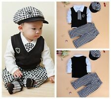 5PC baby boys hat+T shirt+vest+tie+long Pants sets clothing boys Outfits & Sets