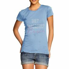 Twisted Envy Women's Me? Sarcastic Never Rhinestone Diamante T-Shirt