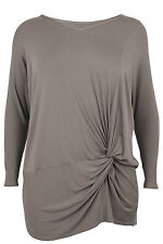 Ann Harvey Womens Brown Side Knot Top - Up To Size 32