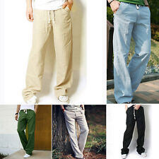 Mens Casual  Pants Slacks Trousers Sweatpants breathable cotton loose linen pant