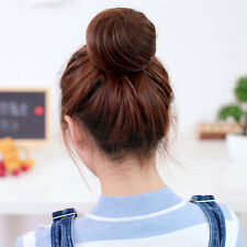 Girls Natural Hair Bun Colorful Straight Chignon Hairpiece Wig Womens
