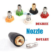 "Pressure Washer Spray Nozzle Tip Set Variety Rotary Degrees 1/4"" Quick Connect"
