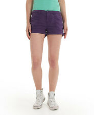 New Womens Superdry Washbasket Plain Boy Shorts Bishop Purple