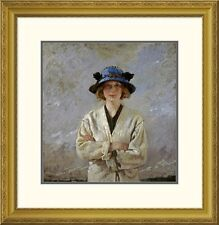 Global Gallery 'Girl In a Blue Hat' by Sir William Orpen Framed Painting Print