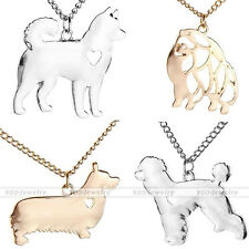 Hollow Heart Alloy Sheet Husky Poodle Corgi Alaska Dog Pendant Chain Necklace
