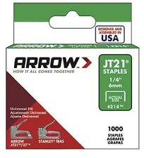 Arrow Fastener JT21 T27 6mm (1/4 inch) Staples Box of 1000