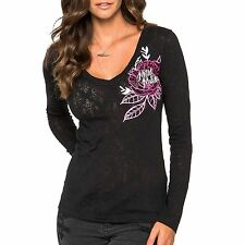 Metal Mulisha Maidens Alternative Burnout Long Sleeve Tee Cotton Blend Top