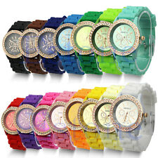 Women's Luxury Geneva Silicone Quartz Crystal Stone Jelly Bracelet Wrist Watch