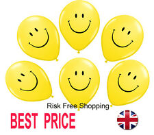 """11"""" Yellow Smiley Face Latex Balloons Qualatex Helium Quality Party Baloons"""