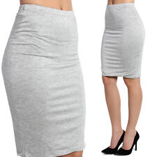 TheMogan Comfortable Double Layered Stretch Jersey Knee Length Pencil Midi Skirt