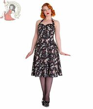 HELL BUNNY womens 50's ZOMBIE DINER rockabilly HALTER DRESS BLACK