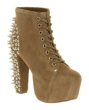 Womens Jeffrey Campbell Lita Platform Ankle boots NUDE COW SUEDE Boots