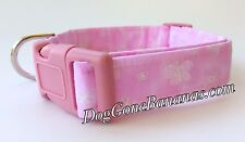 Pink Butterfly Dog Collar w/ Separate Leash Option, 100% Cotton, Handmade