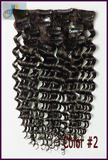 Full Head  220g Deep Wavy Hair Clip In Curly 100%Real Human Hair Extension Brown