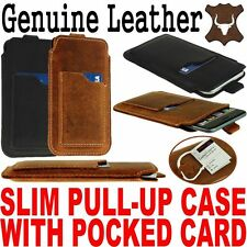 SLIM PULL-UP & POCKET CARD GENUINE LEATHER CASE COVER SLEEVE POUCH FOR MOBILES