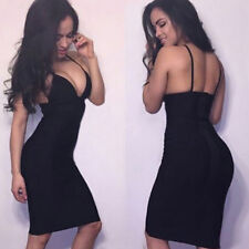Women Sexy Deep V-Neck Backless Stretch Slim Dress Ladies Party Night Clubwear