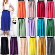 Sexy Women Lady Double Layer Chiffon Pleated Elastic Waist Skirt Long Maxi Dress