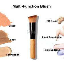 New Flat Angled Wooden Liquid Foundation Powder Contour Bronzer Makeup Brush LE