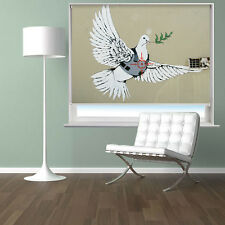 RB116 - BANKSY ARMOURED PEACE DOVE PICTURE PRINTED PHOTO ROLLER BLIND