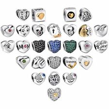 Crystal Heart European Sterling Charms Beads Fit 925 Silver Bracelet Chain