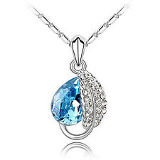 Fashion Silver Plated Crystal Rhinestone Pendant Necklace 5 color Women GIft