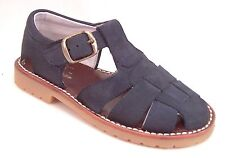 DE OSU A-7119 -Toddler Navy Blue Nubuck Leather Euro Fisherman Sandals -Sz 5-10