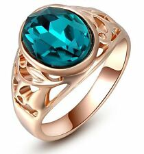 ROSE GOLD Plated Blue Zircon Austrian Crystal Fashion Ring - Choose Your Size