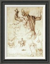 'Anatomy Sketches (Libyan Sibyl)' by Michelangelo Framed Painting Print