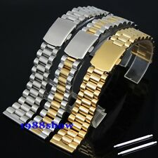 New 18 20mm Silver/Two Tone/Gold Solid Stainless Steel Watch Band Bracelet Strap