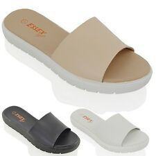 WOMENS SLIP ON MULES LADIES SUMMER BEACH HOLIDAYS PLATFORMS SANDALS SHOES SIZE