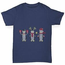 Twisted Envy Boy's Festive Penguins Rhinestone Diamante T-Shirt