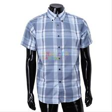 Summer Mens Short Sleeve Slim Fit Plaids Checks Cotton Dress Casual Shirts