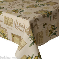 ACRYLIC COATED TABLE CLOTH GREEN OLIVES OIL SOAP BROWN CREAM WIPEABLE  PROTECTOR