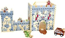 Wooden Knights Castle Box Set Toy Mobile Pretend Play Medieval Figures Play Set