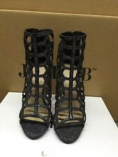 "Just Fab Womens Maci 5"" Stiletto Heel Back Zip Caged Sandal"