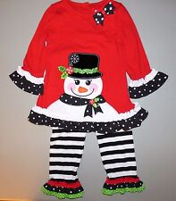 RARE EDITIONS 3T Girls' Holiday Snowman Applique Tunic & Leggings Set NWT