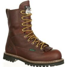 "New Mens Georgia 8"" Logger Steel Toe Waterproof Work Safety Boot Size 7-14 G103"