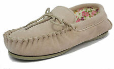 Womens Ladies Mokkers Real Suede Leather Moccasin Slippers BEIGE 3 4 5 6 7 8 9