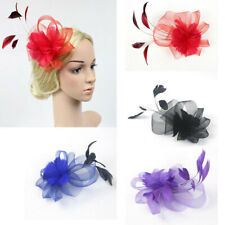 Flower and Feather Clip Fascinator Wedding Races Proms Bridal Hair Accessory