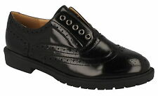 "Spot On F9869 Ladies Black Synthetic Hi Shine Laced 1"" Block Heeled Brogue Shoes"