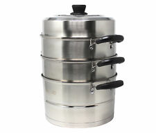 Concord Cookware 4 Piece 3 Tier Premium Steamer with Lid Set