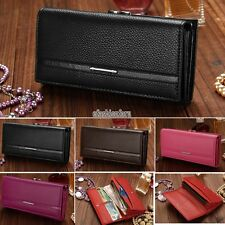 Wallet PU Leather Women Clutch Purse Zipper Pocket Multi-Color Black Hot EFFU