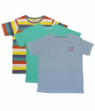 Brand New Boys 3 pack South Island 1973 t-shirt Tops 5-6 6-7 Multi Green & Blue